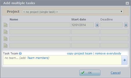 5pm - assigning a team when adding multiple tasks